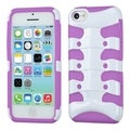 INSTEN Solid Ivory White/ Purple Ribcage Phone Case Cover for Apple iPhone 5C