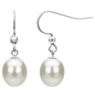 Sterling Silver White Freshwater Pearl Dangle Earring (7-12 mm)