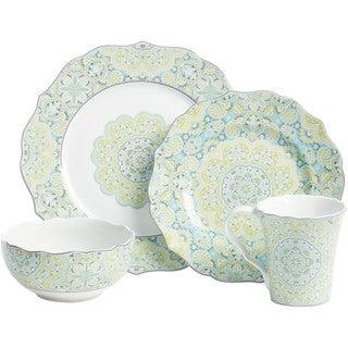 222 Fifth Lyria Teal 16-piece Dinnerware Set