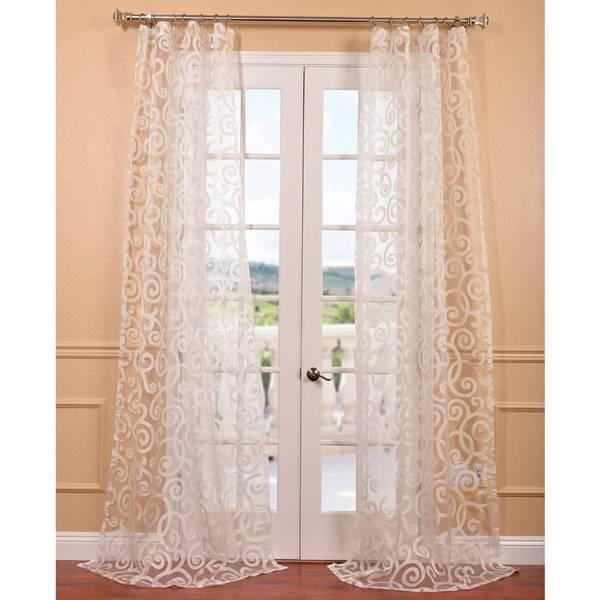 Marietta white patterned sheer curtain panel overstock for Patterned sheer curtain panels