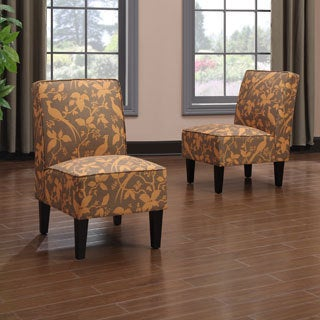 Portfolio Wylie Armless Chairs in an Orange Bird Print (Set of 2)
