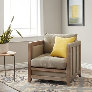 Creston Beige Linen Reclaimed Finish Arm Chair