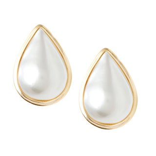 14k Gold Classic Modern Vintage Pear Mabe Drop Pearl Earrings