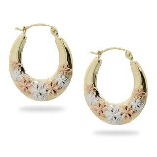 Gioelli 14k Tri-color Gold Flower Hoop Earrings