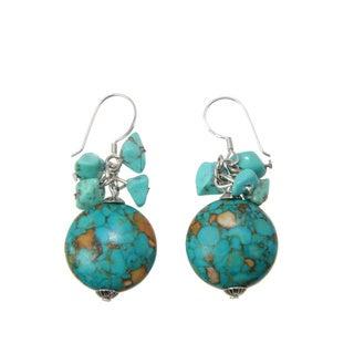 Handmade Turquoise Beaded Earrings (China)