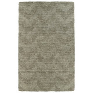 Hand Carved Light Brown Chevron Wool Rug (8' x 11')