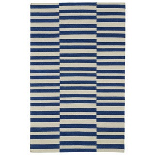 Flatweave TriBeCa Blue Stripes Wool Rug (9' x 12')