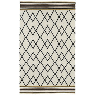 Flatweave TriBeCa Ziggy Black Wool Rug (9' x 12')