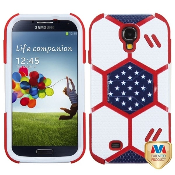 INSTEN White/ Red Goalkeeper Hybrid Phone Case Cover for Samsung Galaxy S4 I337