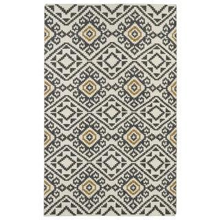 Flatweave TriBeCa Grey Motif Wool Rug (9' x 12')