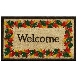 Fall Border Welcome-Coir with Vinyl Backing Doormat (17-inches x 29-inches)