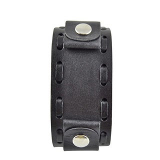 Nemesis Wide Weaving Black Leather Band