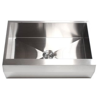 33-inch 16 Gauge Stainless Steel Farm Apron Well Angled Single Bowl Kitchen Sink