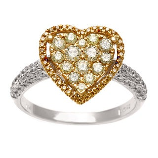 Kabella Luxe 18k Gold 7/8ct TDW Yellow and White Diamond Heart Ring (G-H, SI1-SI2)
