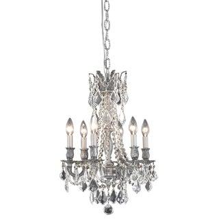 Somette Lucerne 6-light Royal Cut Crystal/ Pewter Chandelier