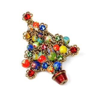 Sweet Romance Millefiori Bead ChristmasTree Pin