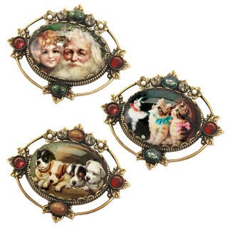 Sweet Romance Vintage Lithograph Holiday Pin