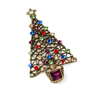 Sweet Romance Bronzetone Multi-colored Crystal Christmas Tree Pin