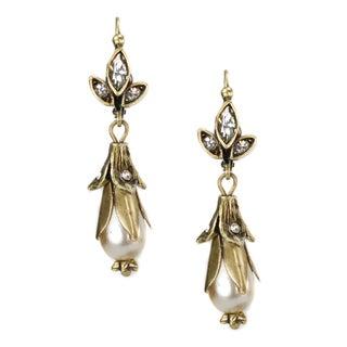 Sweet Romance Goldtone Lily Faux Pearl Earrings