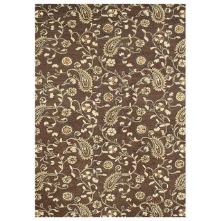 Alliyah Handmade Tobacco Brown New Zealand Blend Wool Rug (9' x 12')