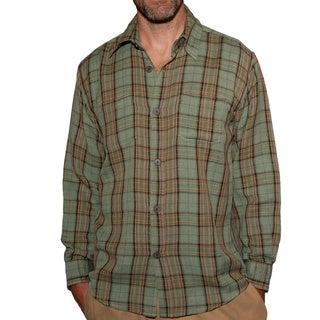 Men's Buttoned Sage Hemp and Cotton Plaid Shirt (Nepal)
