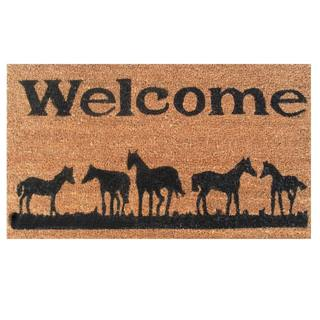 Horses Welcome-Coir with Vinyl Backing Doormat (17-inches x 29-inches)