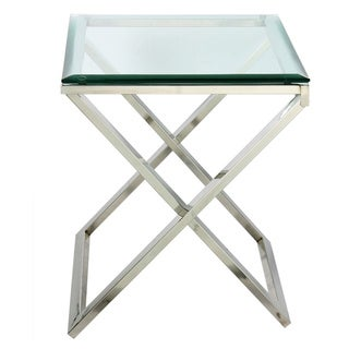 Hudson Cross Folding Side Table With Beveled Glass