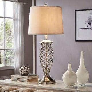 INSPIRE Q Cornelia 3-way Satin Nickel Contoured Cage Base 1-light Accent Table Lamp