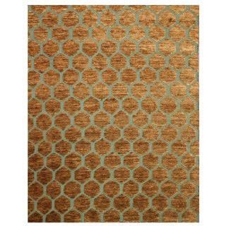 Hand-knotted Erika Brown Jute Rug (9' x 10')