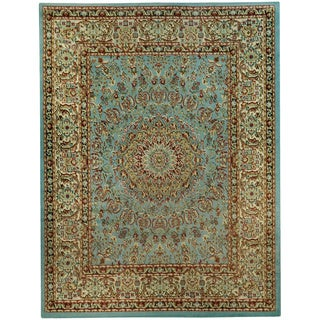 Pasha Collection Medallion Traditional Ocean Blue Area Rug (5'3 x 6'11)