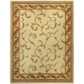 Pasha Collection Floral Traditional Ivory Red Area Rug (5'3 x 6'11)