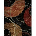 Black Interlocking Circles Contemporary Area Rug (7'10 x 10'6)