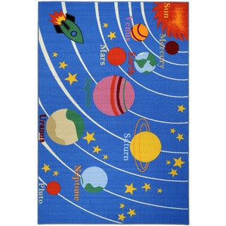 """Kid's Educational Galaxy Planets and Stars Blue Non-skid Area Rug (4'3"""" x 6'1"""")"""