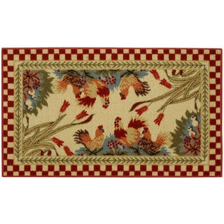"""Rooster Checkered Non-skid Kitchen Mat Rubber Back Rug (18"""" x 30"""")"""