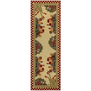 "Rooster Checkered Non-skid Kitchen Runner Rubber Back Rug 20"" x 59"""
