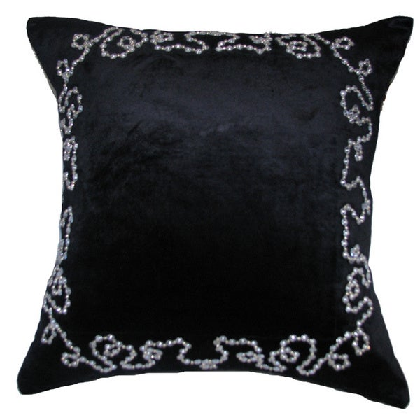 Black Beaded Throw Pillow : Share: Email