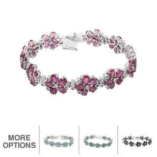 De Buman Sterling Silver Natural Ruby or Sapphire or Emerald or Blue Zircon Flower Bracelet