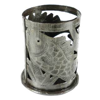 Handmade Metal Art Candle Holder - Fish Design (Haiti)