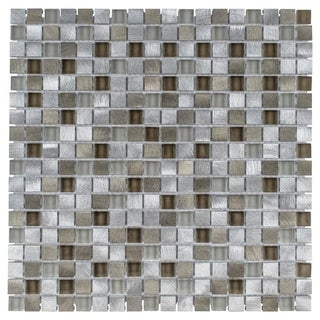 SomerTile 11.875x11.875-inch Fuse Mini Lorraine Brushed Aluminum and Glass Mosaic Wall Tile (Case of 10)