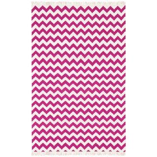 Hand Woven Flat Weave Purple Electro Wool Rug (9' x 12')