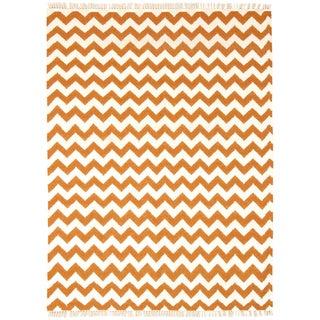 Hand Woven Flat Weave Orange Electro Wool Rug (9' x 12')