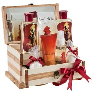 French Vanilla Wooden Jewelry Box with Bath Spa Gift Set