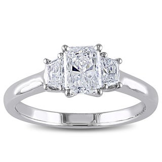 Miadora 14k White Gold 1 1/10ct TDW IGL-certified Radiant Cut Diamond Ring (D-E, SI1-SI2)