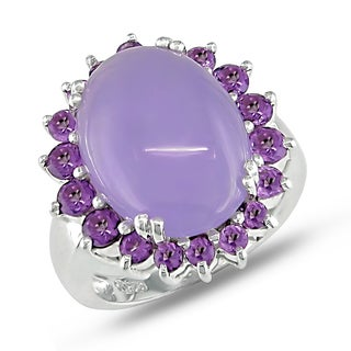 Miadora Sterling Silver Jade and Amethyst Flower Ring