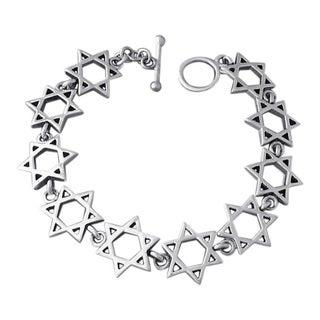 Jewish Star of David Link .925 Silver Toggle Bracelet (Thailand)