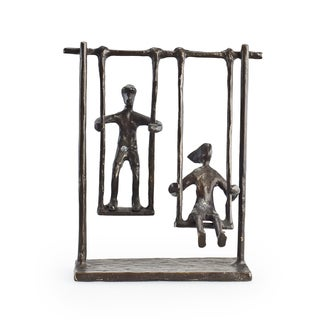 Children On Swings Bronze Sculpture
