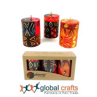Set of Three Boxed Hand-painted Mini-Pillar Candles with Bongazi Design (Set of 3) (South Africa)