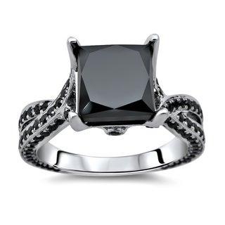 Noori 14k White Gold 3 1/2ct TDW Certified Black Diamond Twisted Shank Ring