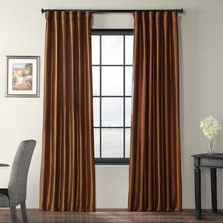 Copper Brown Faux Silk Taffeta Curtain Panel