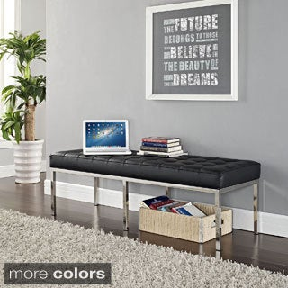 Leather/ Steel Three-seater Bench